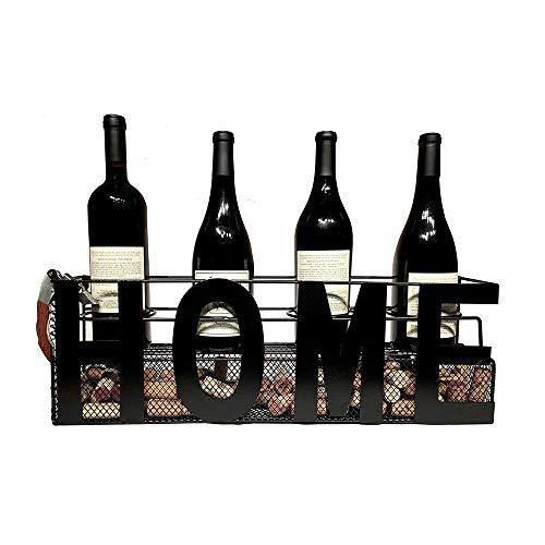 Pkfinrd Estante de vino montado en la pared, decoración del hogar y la cocina, estante de almacenamiento de hierro pesado | diseño de fácil instalación | soporte para botellas