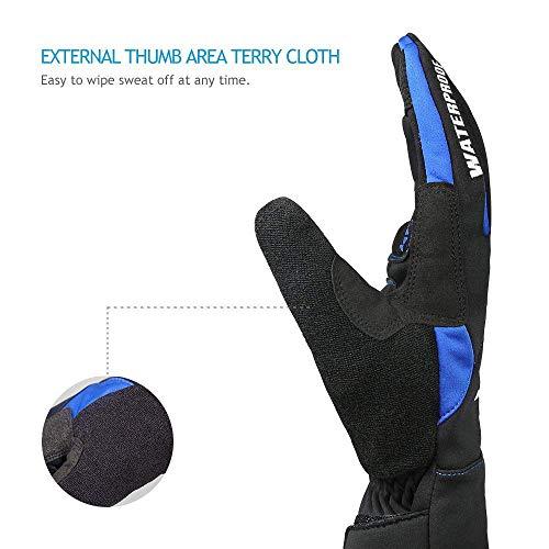 Inbike Fahrradhandschuhe Winter Thermo Gepolsterte Handfläche Radsport Gel Handschuhe Windddichte(Blau,L) - 5