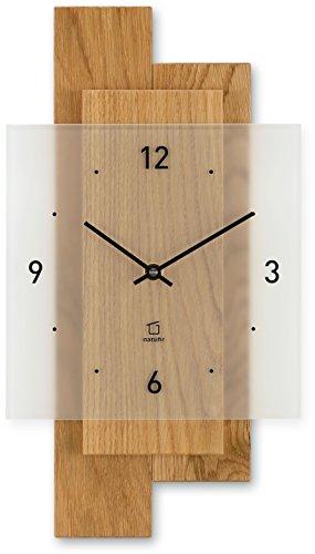 Natuhr Wanduhr Holz Eichwald Modern geräuscharm Eiche Mineralglas Junghans Uhrwerk (Eiche geölt, Quarz)