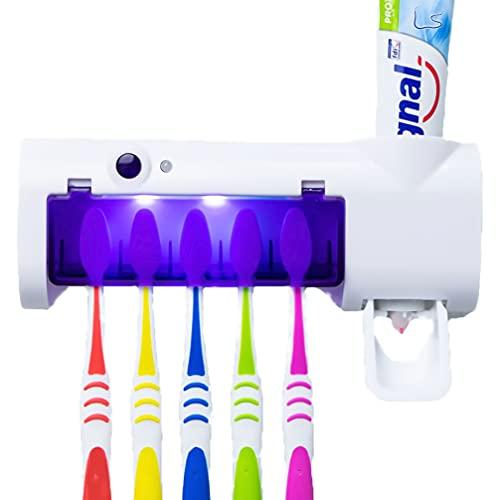 Karnibal Portacepillos de Dientes Eléctrico Esterilizador UV con Dispensador de Pasta de Dientes para Pared de baño, Soporte para Cepillos de Dientes Desinfectante y Dosificador de Crema Dental