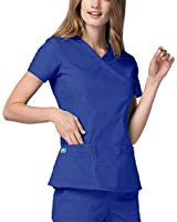 Adar Universal Scrubs for Women - Double Stitched Mock Wrap Scrub Top - 2638 - Royal Blue - XS