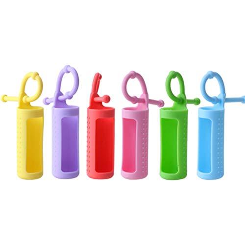 Frcolor エッセンシャルオイル保護カバー 小分けボトル保護カバー 精油瓶ホルダーロール シリコン ボトルスリーブ 吊り掛け 携帯便利 10ml 6個セット