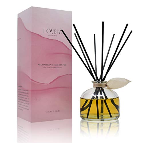 LOVSPA Sandalwood & Amber Scented Reed Diffuser Oil and Sticks Gift Set | Air Freshener for Any Room | Notes of Bergamot, Orange, Rose & Violet with Base of Cedarwood & Vanilla | Made in The USA