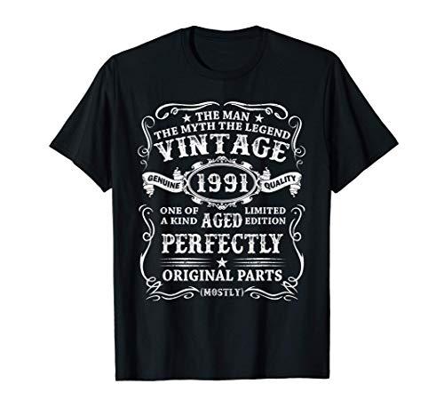 Hombre Nacido En 1991 Vintage 1991 30 Años Cumpleaños Hombre Regalo Camiseta