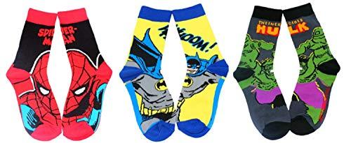 Global Felicity Marvel Superhelden Comic Socken I Spiderman Batman Hulk I 3 Paar Unisex Strümpfe I Größe 39-46