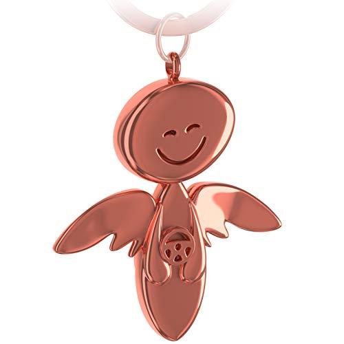 FABACH Schutzengel Schlüsselanhänger Smile mit Lenkrad - Edler Engel Anhänger aus Metall in glänzendem Rosegold - Geschenk Glücksbringer Auto Führerschein - Fahr vorsichtig