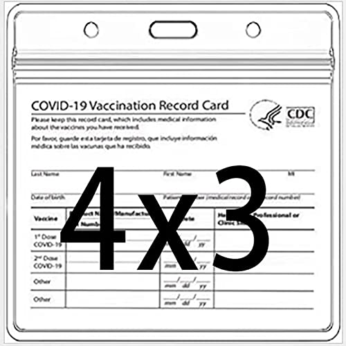 6-Pack ID Badge Holder- Horizontal 4x3 inches Card Protector-Clear card holder for Name Tag,Card Tag with Waterproof Type Resealable Zip (6-Pack)