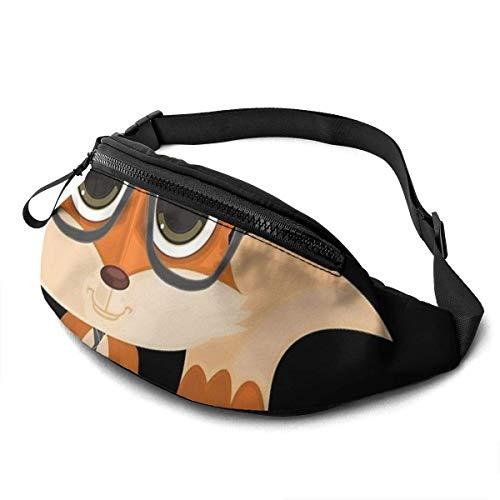 Fox Nerd Gürteltasche Unisex Taillentasche Gürteltaschen mit großer Kapazität Packs Fashion Casual Taillentasche, kann kleine Gegenstände wie Ausweise aufnehmen und ist auch mit einer Kopfhö