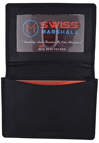 Swiss Marshall Men's RFID Blocking Premium Leather Expandable Small Credit Card ID Business Card Holder Wallet (Black)