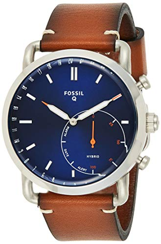 Fossil Men Commuter Stainless Steel and Leather Hybrid Smartwatch, Color: Silver-Tone, Brown (Model: FTW1151)