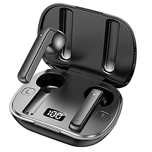 QueenDer Auriculares Bluetooth Inalámbricos 5.0 HiFi Estéreo Deportivos In Ear Auriculares con Micrófono Control para iPhone y Android (Negro)