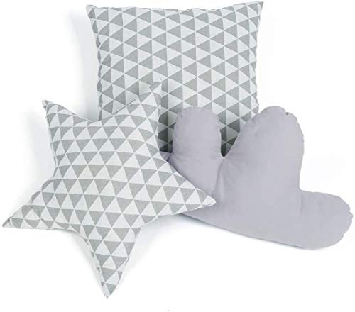 Cushion Set for Teepee Tent Grey Decoration Pillow in The Shape of Star Cloud and Square for Kids Room