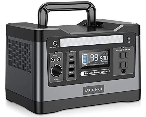 LAP UU NIOT Portable Power Station 500W, 540Wh Solar Generator with LED Light, Backup Lithium Battery for Outdoors Camping Travel Hunting Emergency (Solar Panel Not Included)