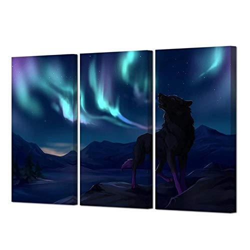 XZRDP Wolf Northern Lights Canvas Poster Animals Wall Art Painting Print Picture Home Decor-40x80cmx3 pcs no Frame