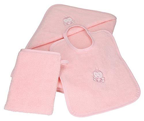 Betz 3tlg Kapuzenbadetuch Kapuzentuch 85x85 cm Babyset Bienen 100% Baumwolle 1 Kinderbadetuch 1 Lätzchen 1 Waschhandschuh Baby Farbe rosé