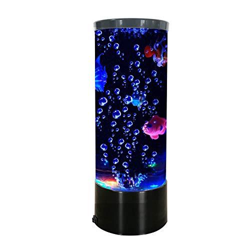Mini lámpara de peces eléctrica USB Acuario grande lámpara de lava con 4 peces, cambio de color, luz de estado de ánimo nocturno, regalo para decoración para niños, niñas, hombres y adultos – 30 cm