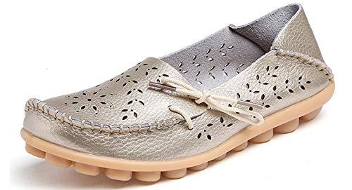 Eagsouni Damen Mokassins Bootsschuhe Leder Loafers Freizeit Schuhe Flache Fahren Halbschuhe Casual Slippers, Gold B, 39 EU