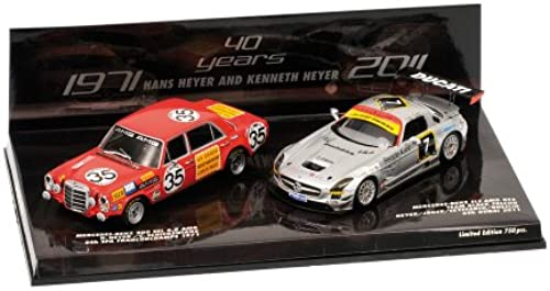 Minichamps 402711100 - 2 Car Set Tribute to Heyer, Mercedes-Benz 300 SEL 6.8 AMG und SLS GT3, Ma ab  1 43