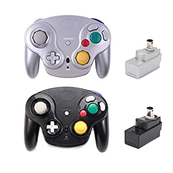 Classic Wireless Controller Gamepad with Receiver Adapter Compatible with for Wii Gamecube NGC GC Black and Silver