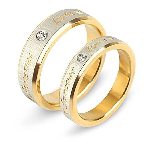 Daesar 1 Paar Ringe für Damen Herren Verliebte Edelstahl Ringe mit Gravur Forever Love Weiß Zirkonia Breite 6/4 MM Paarringe Gold Ehering Damen Gr.54 (17.2) & Herren Gr.65 (20.7)