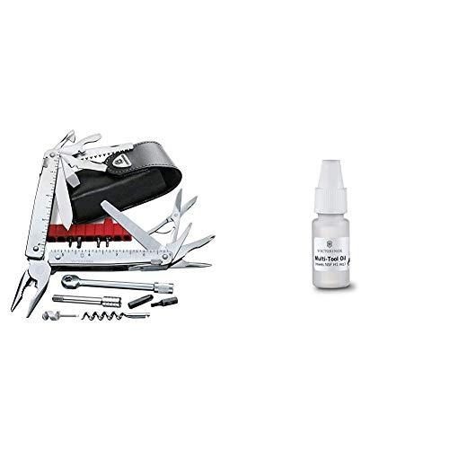 Victorinox Multifunktionswerkzeug SwissTool X Plus Ratchet (38 Funktionen, Etui, Ratsche) silber & Korrosionsschutz-Öl, für Taschenmesser, Pflege, NSF-H1 konform, Oil