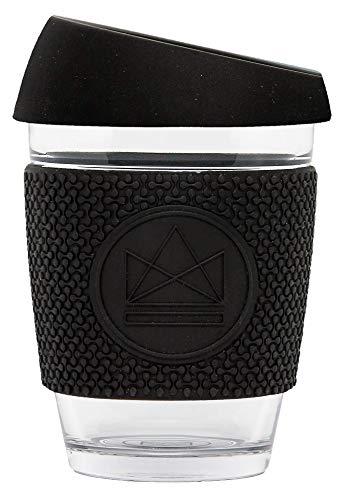Neon Kactus Tasse à café en verre réutilisable Noir