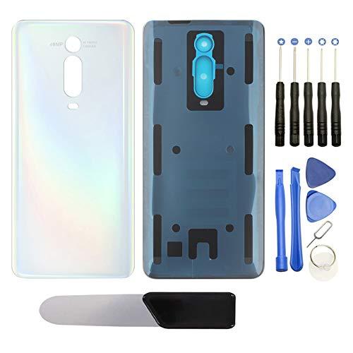YHX-OU - Tapa trasera para Xiaomi Mi 9T, incluye herramientas de montaje, pin SIM Cato y Cato+ herramienta de extracción + cámara trasera de cristal templado (blanco)