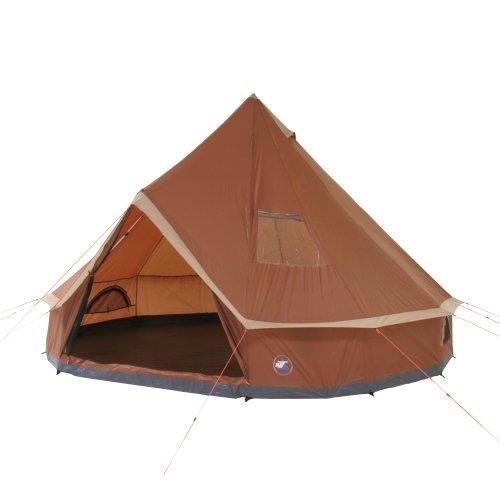 10T Outdoor Equipment 10T1758-4260181762456 Campingzelt Mojave 400 Wood XXL Tipi Zelt wasserdichtes 4-8 Mann Rundzelt Indianerzelt Ø 4m, Braun Beige V8, 4 bis 8 Personen - Ø 400 x 250 cm