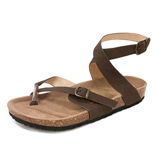 Minetom Sandalias de Verano para Mujer Peep-Toe Zapatos Bajos Sandalias Romanas Chanclas de Damas Plano Talla Grande Bohemia Dulce con Cuentas Sandalias Casuales Zapatos de Playa Marrón EU 38