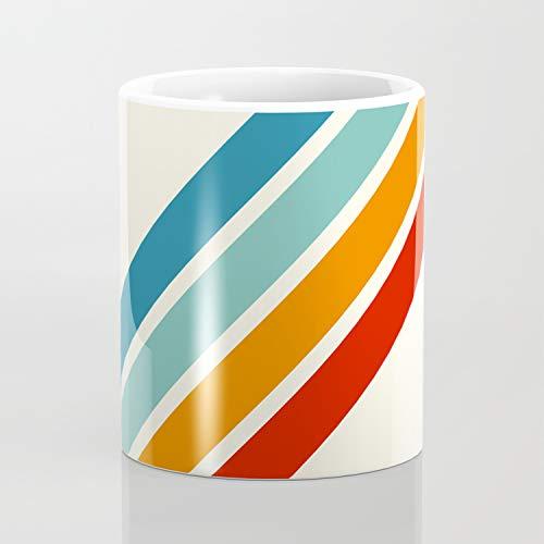 Alator – Klassische 70er-Jahre Retro Sommer Streifen Kaffeetasse 313 ml lustige Geschenke 313 ml Kaffee Tasse Tee Tasse