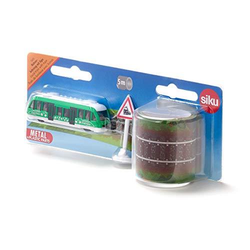 Siku 1603, Nahverkehrszug mit Tape und Verkehrsschild, Metall/Kunststoff, Multicolor, 5 m Bahnstrecke