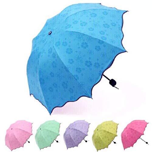 Paraguas anti UV para lluvia solar que cambia de color mágico, compacto, plegable, resistente al viento, plegable, sol, lluvia, resistente al viento, floración, paraguas – 07 colores al azar, a1