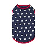 Fitwarm 100% Cotton 4th of July Dog Clothes Patriotic Dog Shirts T-Shirt Puppy Shirt Pet Vest Tank Top Cat Tee XL
