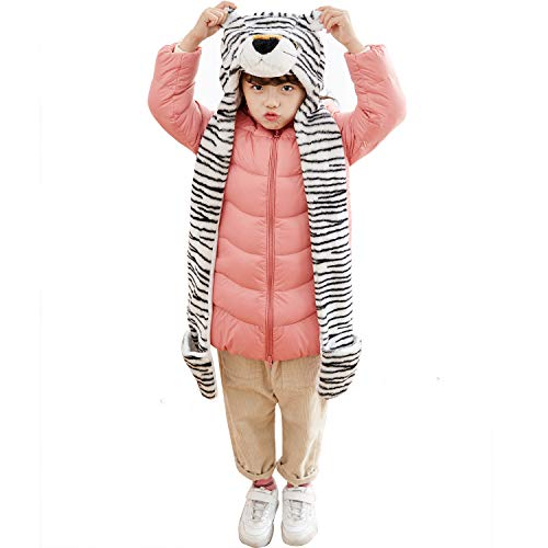 PulamaFunnie Varied Animal Hats Gloves Scarf 3 in 1 Set -Costume Hood Toy(White Tiger)