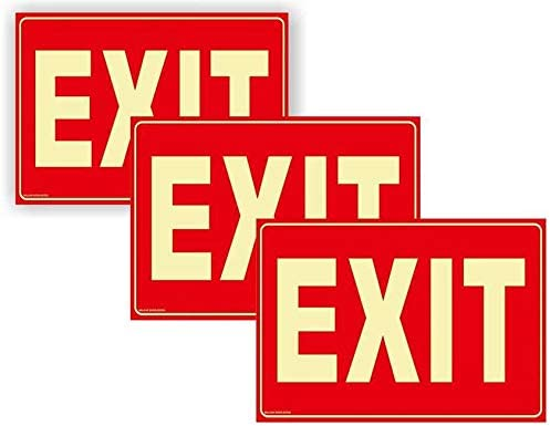 3 Pack Exit Sign Lighted Glow in the Dark for Business Comes with 2 Sided Tape Non Fade Colors product image