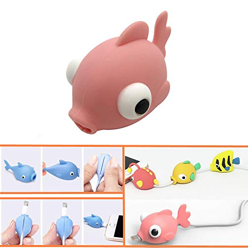 DECVO Cable Protector Compatible with iPhone iPad Android Sumsung Galaxy Cable Plastic Cute Ocean Animals Phone Accessory USB Charger Data Protection Cover Chewers Earphone Cord Bite (Pink)