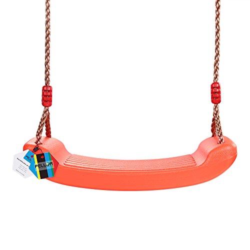 PELLOR Outdoor Spiel Kinder Beste Geburtstagsgeschenk Blasgeformten Kunststoff Einstellbar Seillänge Schwingen Swing Sitz (Orange)