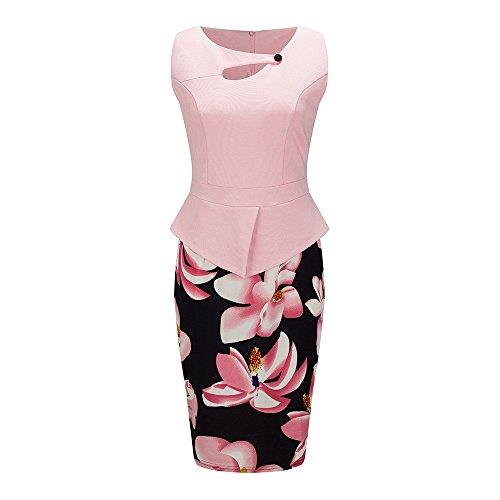 Beauty7 - Räumungsausverkauf - Damen 1950er Retro Ärmellos Schößchen Etuikleid Vintage Business Kleid Knielang Bleistift Kleid mit Blumen Motiv Partykleid - Farbe: Rosa - Groesse: EU 48