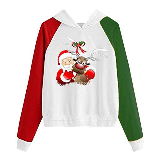 TWIFER Damen Weihnachten Kapuzenpullover Lange Hülsen Sweatshirt Pullover (a-Weiß,M)