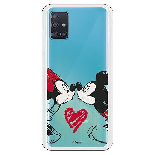 Funda para Samsung Galaxy A51 Oficial de Clásicos Disney Mickey y Minnie Beso para Proteger tu móvil. Carcasa para Samsung de Silicona Flexible con Licencia Oficial de Disney.