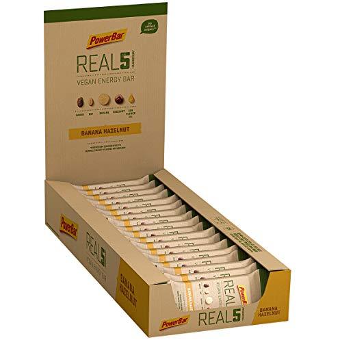 PowerBar Real5 Banana Hazelnut 18x65g - Veganer Riegel mit 5 Natürlichen Zutaten + Magnesium