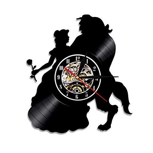 Vinilo Pared Reloj La Bella y la Bestia Reloj de Pared