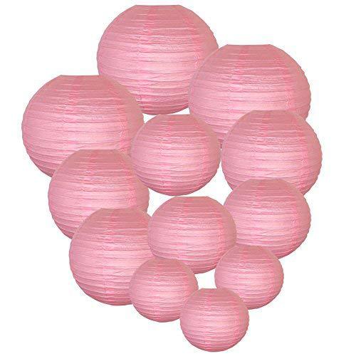 Trofou Lanternes en Papier Lampion Papier Rose Lampion Papier Suspensions Ronde pour Décoration de Mariage, Noël,Maison,Anniversaire,Fête etc(Pink 12pcs)