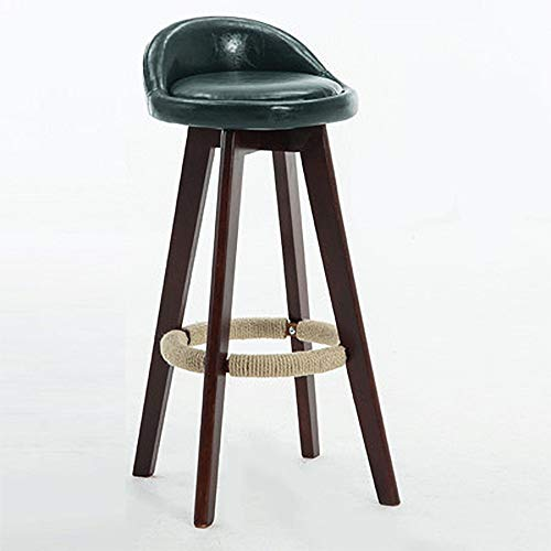 FYMDHB886 Barkruk Hoge kruk Barstoel Houten lederen stoel Roterende ontbijtstoel Veelzijdig (Inkt groen + walnoot kleur plank), Size, A