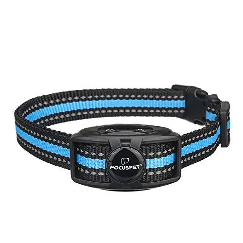 Bark Collar, FOCUSPET No Shock Dog Bark Collar Rechargeable Barking Control Training Collar with Adjustable Sensitivity Intensity Beep No Pain Vibration Barking Dog Collars for Small Medium Large Dogs