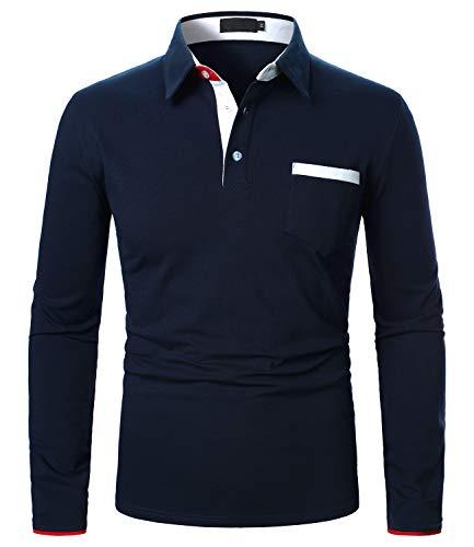 XXIE Herren Casual Poloshirt Slim Fit Langarm Kontrastkragen Polohemd mit Brusttasche Marine XL