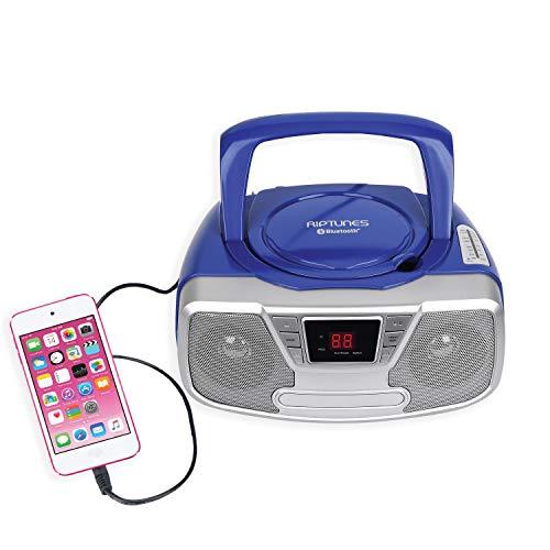 Riptunes Portable CD Player - Programmable Boombox, AM/FM Radio, Bluetooth Blue CDB23BT