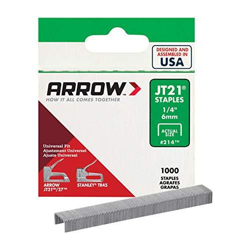 Arrow Fastener 214 1/4in. JT21 Light Duty Staple, 1,000 Staples Per Pack (1)