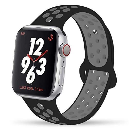 YC YANCH Greatou Compatible for Apple Watch Band 42mm 44mm,Soft Silicone Sport Band Replacement Wrist Strap Compatible for iWatch Apple Watch Series 5/4/3/2/1,Nike+,Sport,Edition,S/M,Black Coolgray