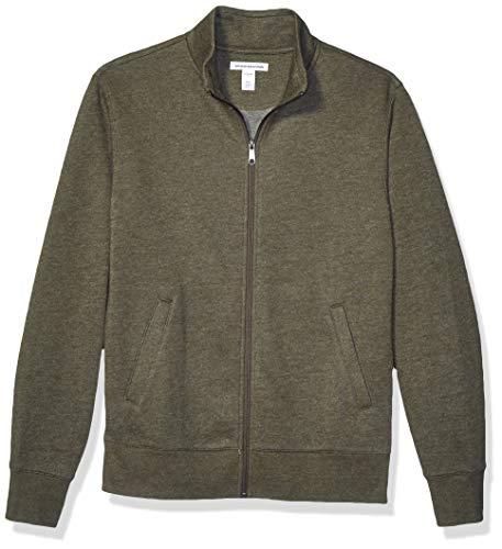 Amazon Essentials Men's Full-Zip Fleece Mock Neck Sweatshirt, Olive Heather, X-Small